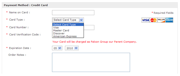 Credit Cards (using one of the Payment Gateway)