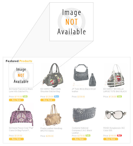 Customized Image Not Available - When Product Image is Not Available