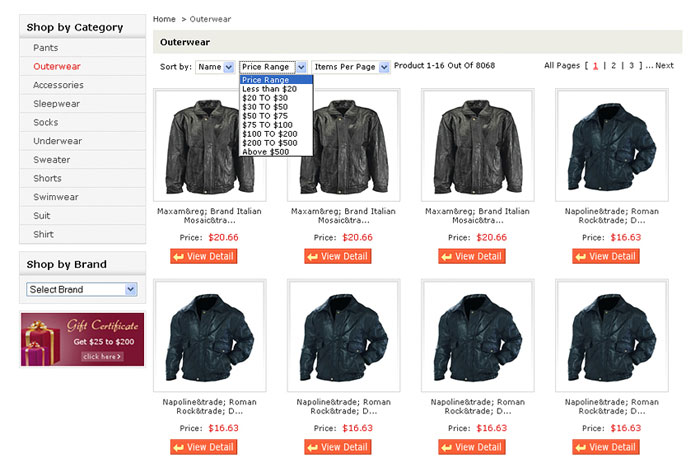 Sorting Functionality on Product Listing Page